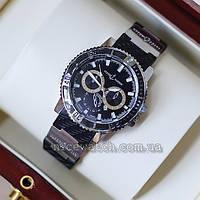 Кварцевые мужские наручные часы  Gold Black Ulysse Nardin Maxi Marine Diver черные с серебром