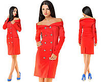 Платье с открытыми плечами красное