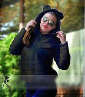 Куртка женская черная короткая осенняя молодежная Микки Маус. Арт-3301.