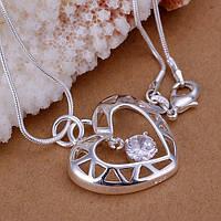 Подвеска на цепочке Сердце с фианитом-подвеской покрытие 925 серебро