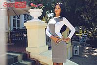 Платье женское трикотажное Силуэт - Серый с белым