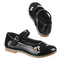 Детские лакированные черные туфельки для девочек бантик с пряжкой