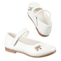 Детские лакированные белые туфельки для девочек бантик с пряжкой