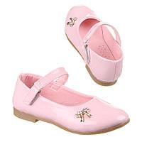 Детские лакированные светло-розовые туфельки для девочек бантик с пряжкой