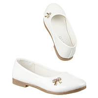 Подростковые лакированные белые туфельки для девочек бантик