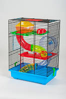 Клетка для хомяка Teddy 2 с трубой (37х25х51см) крашеная черная Inter-Zoo.