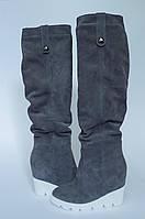 Высокие кожаные женские сапоги Деми-Зима