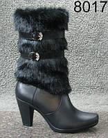Женские зимние кожаные сапоги на каблуке