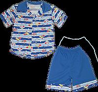 Детский летний костюмчик, рубашка с коротким рукавом на пуговицах и шортики, хлопок (кулир), р. 86, 92,Украина