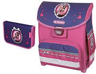 Детский школьный рюкзак и пенал Herlitz Happy Smart розово-синий