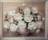 Картина маслом цветы Белые пионы, фото 1