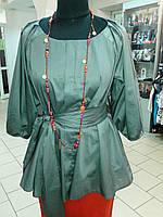 Блуза женская туника из тонкого полированного хлопка, дизайнерская модель, 50,52,54,56 , бл 035-4