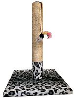 """Когтеточка-столбик """"Снежный барс"""", квадратной подставке, сизаль, игрушка-мышь, 30х45см"""