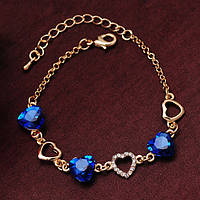 Браслет позолоченный романтический с сердечками (синий)