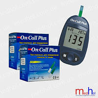 Глюкометр On-Call Plus и 2 упаковки тест-полосок (100 шт) в комплекте