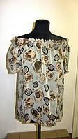 Блуза женская  с цветочным рисунком, 46,48, 50,52, тонкая легкая ,купить , Бл 019-14.