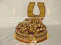 """Конфетный торт с подковой""""Шкатулка удачи""""золотой"""