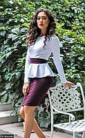 Женское приталенное платье баска до колен с длинным рукавом джерси