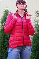 Пуховик стильный женский ультра-тонкий красный