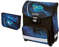Детский школьный рюкзак и пенал Herlitz Nitro Smart чёрно-синий