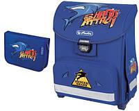 Детский школьный рюкзак и пенал Herlitz Shark Attack Smart голубой