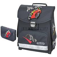 Детский школьный рюкзак и пенал Herlitz Motor GP Smart серый