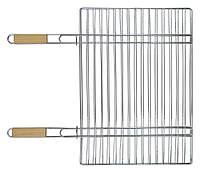 Решетка-гриль для мяса, с двумя ручками 40х57 см, ручки- дерево, 67 см, код  773-506