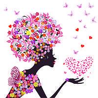 """Картина холст печать """"Девушка с бабочками в голове"""""""