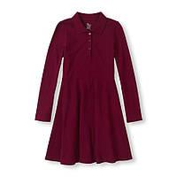 Детское школьное бардовое платье-поло длинный рукав, на рост 122-137 см (арт.3678)