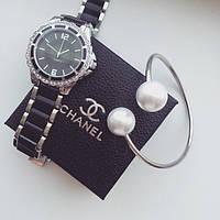 Часы наручные женские Chanel Flora черные, недорогие часы