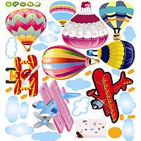 Интерьерная наклейка на стену или окно - декоративные наклейки  воздушные шары и самолеты