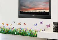 Интерьерные наклейки на стену или окно - декоративная наклейка Цветы и бабочки