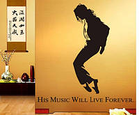 Декоративные наклейки для интерьера, интерьерная наклейка на стену или окно -  Майкл Джексон