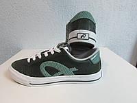 Кеды Athletic мужские (подростковые) зеленые натуральная кожа код 545А