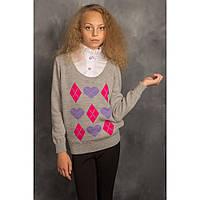 Модный вязаный джемпер - обманка для девочки
