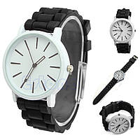 Часы наручные женские Jelly Geneva Женева черные с белым циферблатом