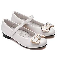 Нарядные школьные туфли, белые, для девочек, размер 28-33
