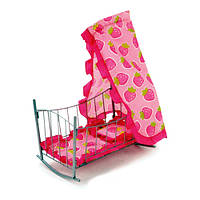 Кроватка-качалка для куклы с балдахином 2 цвета.