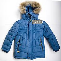 Удлиненная зимняя куртка на мальчика 4 - 9 лет