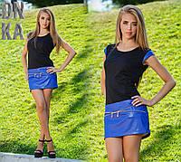 Платье трикотажное с декором из кожи + змейка  № 282 Гл
