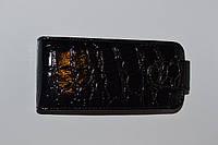Чехол-книжка для телефона Nokia Lumia 610 черная рептилия с пластиковым креплением.