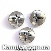 """Металл. бусина """"плоская с крестиком"""" серебро (0,9 х 0,9 см) 17 шт в уп."""