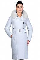 Стильное зимнее пальто удлиненное с натуральным мехом