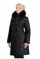 Женское зимнее удлиненное пальто с меховым воротником