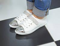 Кроссовки белые серебристый носок Т423