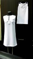 Комплект одинаковых платьев мама и дочка белого цвета с бантиком из плательно-косюмной ткани