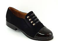 Туфли женские черные лаковый носок Т426