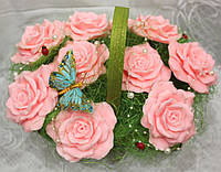 """Мыло ручной работы """"Букет из 9 роз в корзине"""""""
