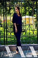 """Элегантный женский костюм с брюками норма и батал """"Креп диагональ стрела"""" мод 6-326"""