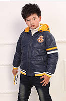 Пуховик для мальчика куртка синяя натуральный пух размер 134